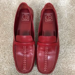 Cole Haan Red Leather loafers EUC
